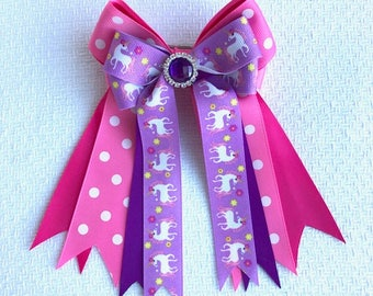 Unicorn Bows for Horse Shows /hair accessory/ purple sparkle gem