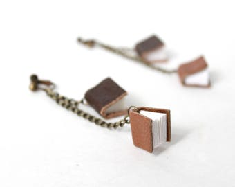 Mini Book Clip On Earrings; Tiny Leather and Paper Book Charm Dangle Nonpierced Earrings, Gift for Book Lover, Librarian, Author, Teacher