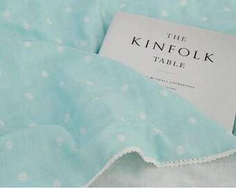 Dots Pattern Cotton Double Gauze Fabric by Yard - Mint Background