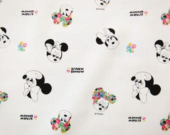 Disney Mini Mouse with Flower Cotton Fabric by Yard