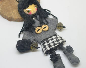 large articulated doll pendant 4 dressed 10.5 cm