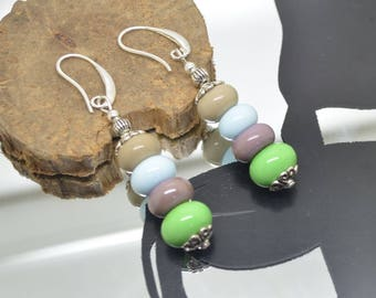 Pearl Earrings glass Lampwork green blue purple beige 925 Silver hooks