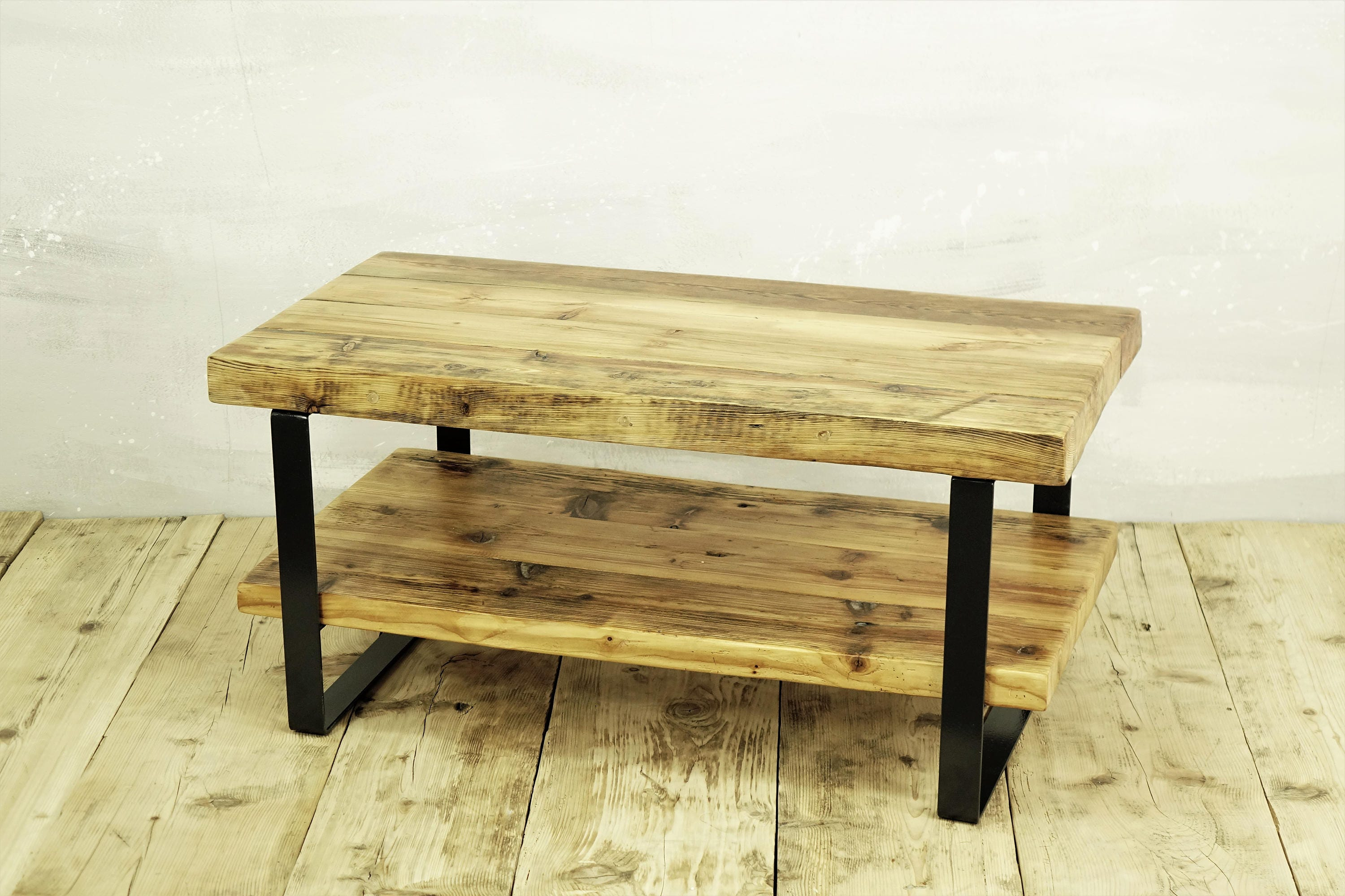 Reclaimed Timber Coffee Table With Shelf , 2 Level Coffee Table, Coffee  Table Storage, Old Beams Coffee Table