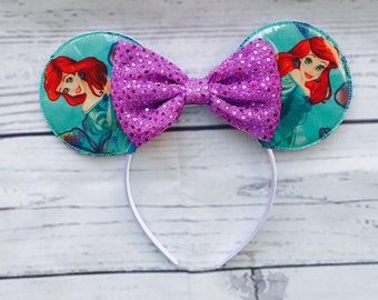 Ariel Minnie Mouse Inspired Ears- Little Mermaid Minnie Mouse Indpired Ears- Ready to Ship