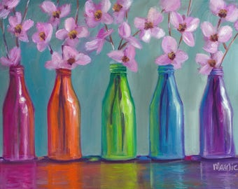 Roy G Biv, oil painting, cottage chic, original art, country art, floral still life, rainbow