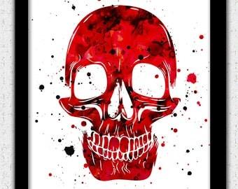 Red black skull print, red black skull art print, revolver skull silhouette, black red skull painting, red skull poster, day of the dead