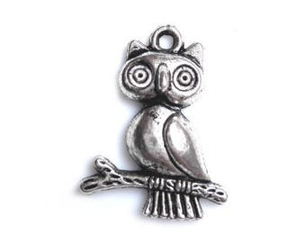 Set of 4 owls on a branch of 24x20mm