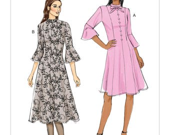 Vogue Sewing Pattern V9279 Misses'/Misses' Petite Princess Seam Dress With Flounce Sleeves