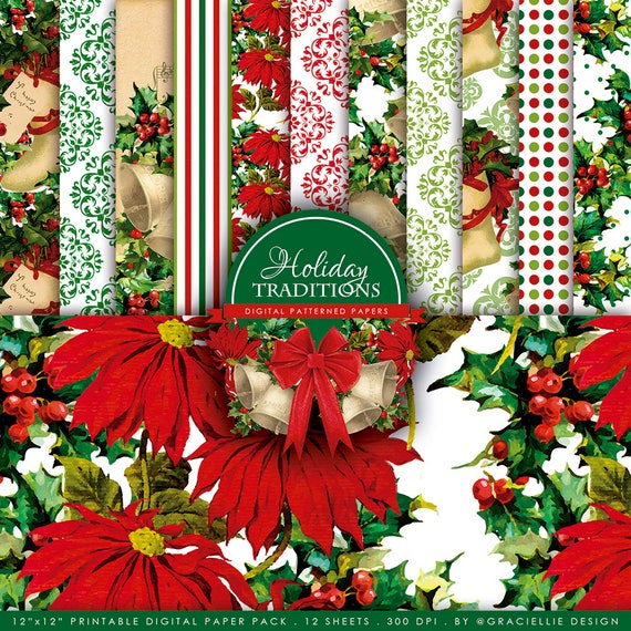 Graciellie Design Holiday Traditions Digi Paper Pack