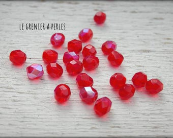 Faceted Bohemian red AB 4 mm X 50