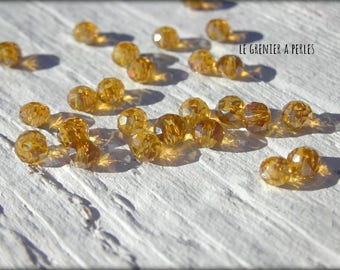3 mm Topaz AB Abacus beads X 50