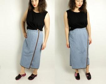 Denim skirt, Maxi skirt, Denim maxi skirt, Jeans skirt, Long skirt, Maxi jeans skirt, Country girl skirt, Light blue skirt, / Small Medium