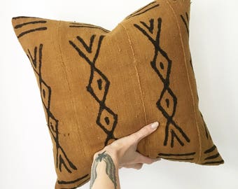 18x18 Vintage Mudcloth Pillow | Brown