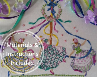 Traditional Transfer Embroiderey Kit : May Day Beautiful Embroidery Kits By Maggie Gee Needlework