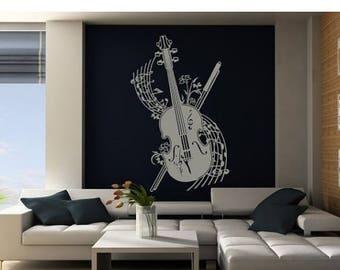 20% OFF Summer Sale Violine music wall decal, sticker, mural, vinyl wall art