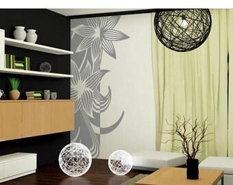 20% OFF Summer Sale Lily flower wall paper decal, sticker, mural, vinyl wall art