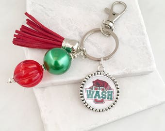 Washington University in St. Louis Key Chain, Washington University Key Chain, Washington University Gifts, Graduation Gifts, Red and Green