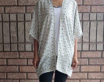 Boho Kimono, Cream Kimono, Floral Kimono, Kimono Cardigan, Kimono Jacket, Festival Kimono, Rayon, Birthday Gift, Fall Layering