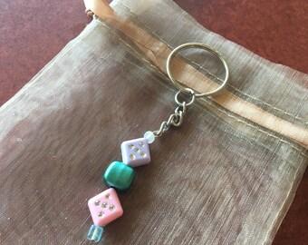 Diamond Shaped Bead Key Chain