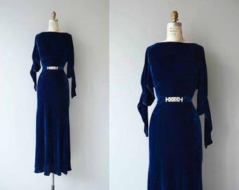1930s bluecobalt velvet evening dress - VINTAGE