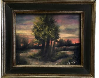"Tree of Life Painting, Tree of Life Wall Decor, Small Oil Painting, Tonalist Oil Painting, ""DREAM OF ALWAYS"", 8x10 Landscape Painting"