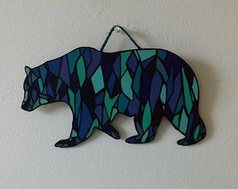 Wooden Stained Glass Bear Wall Hanging | Ursa major | Home decor | Room Decoration | House Warming Gift | Geometric Designs