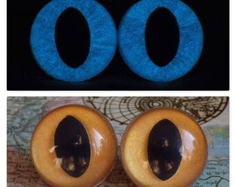 24mm Glow In The Dark Cat Eyes, Metallic Dark Gold Safety Eyes With Blue Glow, 1 Pair of Plastic Safety Eyes
