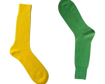 Discounted 2 Pairs Natural Ribbed %100 Cotton Fine Casual Dress Yellow Green Socks Solid