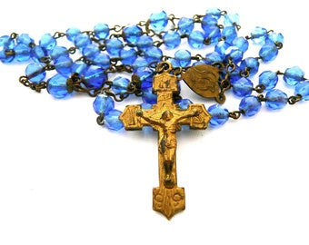 Vintage Blue Glass Rosary