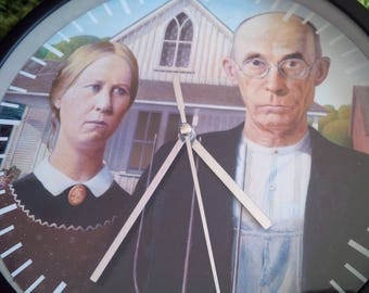 clock wall art pattern painting farmers Gothic Grant Wood