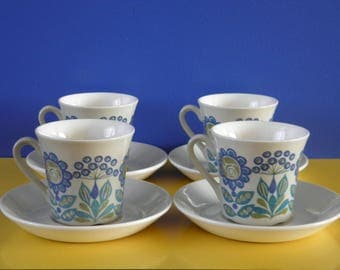 Figgjo Flint - Tor Viking - Cups and Saucers - Set of 4 - Norway - 1970's