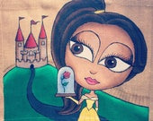 Beauty and the beast jute bag hand painted tote bag