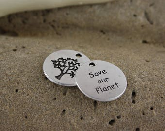 Lot 2 metal save our planet charms