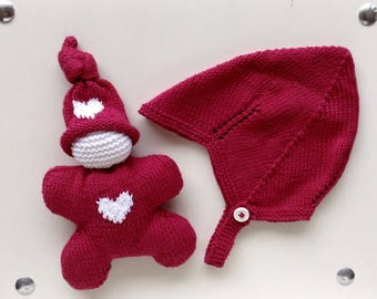 Newborn Pink Hat and Elf plush heart box