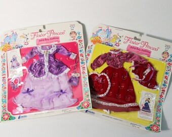 Two Vtg Creata 1982 Flower Princess Fairy Tale Fashions/Outfits, Barbie, NIP New