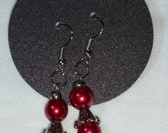 Red with Silver Bead Dangle Earrings