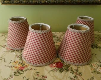 Sweet Checkered Cottage Style Mini Lampshades