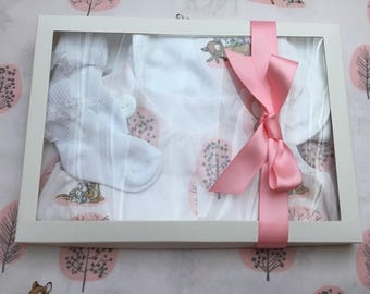 Baby Girl Bubble Romber, Bambi, Rabbits, pink set, Shower gift, Baby gift, Dribble bib, frilly socks, age 0-3 months