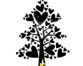Stamp wood handmade pattern 35 heart tree / 26mm