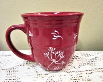 Mug Coffee Tea Ceramic Porcelain Cup Hand Painted Dandelions Red White