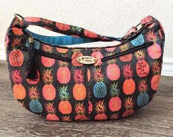 """Hobo Bag, Handbag, Sling Bag, Slouchy Bag, Tropical Bag, Large Purse, Pineapple Bag in """"You Had Me At Aloha"""" Print"""