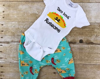 Taco bout' Awesome pants and onesie infant outfit, Tacos outfit, Newborn outfits, Coming home outfits, Baby shower gifts, Tacos shirts