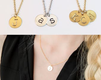 Disc Initial Necklace, Name Letter Necklace, Necklace for Mom, Kids Initials Necklace, 2 Initials, 3 Initials, Multiple Discs Initials Gift
