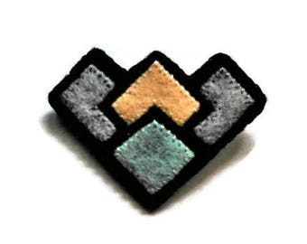 Art deco inspired geometric felt brooch