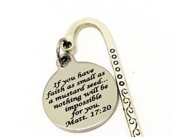 Scripture Bookmark, Mustard Seed Faith Bible Verse Bookmark, Scripture Gifts, Matt 17 20 Bookmark, Bible Bookmark, Planner Bookmark