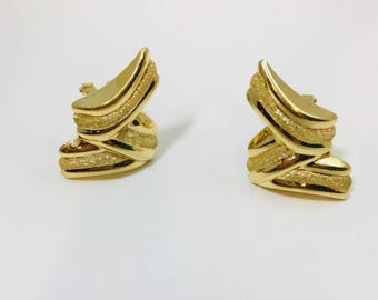 Sale Puff Ribbon Earrings Z Zig Zag Lightening Bolt Geometric oversized 14K Large Gold Pierced OMEGA CLIP Earrings Solid Back Free shipping