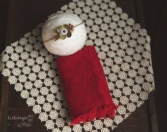 Red Holiday Newborn Wrap Set * Wrap Set with Tieback *  Newborn Tieback * Photo Prop * Newborn Wrap * Baby Headband *