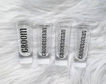 Groomsmen shot glasses - wedding shot glasses - tall skinny shot glass - groomsmen gift -  groomsmen proposal gift - Best man shot glass