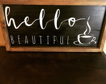Hello sign wood coffee
