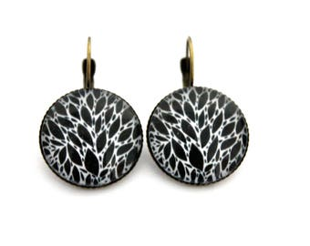"""Earrings cabochon """"abstract black and white"""" 20mm"""